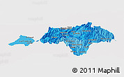 Political Shades Panoramic Map of Canar, cropped outside
