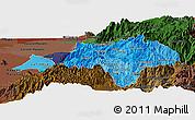 Political Shades Panoramic Map of Canar, darken