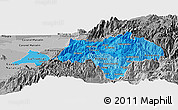 Political Shades Panoramic Map of Canar, desaturated