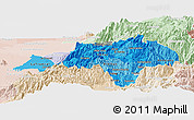 Political Shades Panoramic Map of Canar, lighten