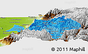 Political Shades Panoramic Map of Canar, physical outside