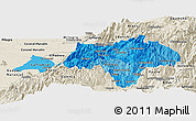 Political Shades Panoramic Map of Canar, shaded relief outside