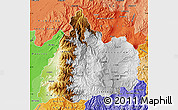 Physical Map of Cotopaxi, political shades outside