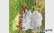 Physical Map of Cotopaxi, satellite outside
