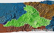 Political Shades 3D Map of Imbabura, darken