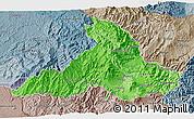 Political Shades 3D Map of Imbabura, semi-desaturated