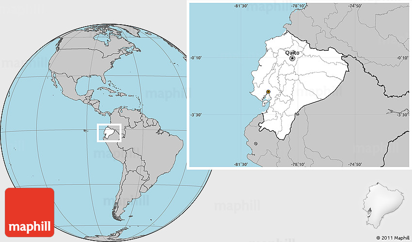 Location Of Ecuador On World Map.Blank Location Map Of Ecuador Gray Outside
