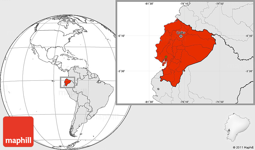 Blank Location Map Of Ecuador Highlighted Continent - Map of ecuador world