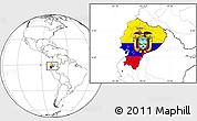 Flag Location Map of Ecuador, blank outside