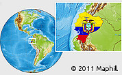 Flag Location Map of Ecuador, physical outside