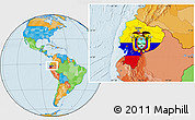 Flag Location Map of Ecuador, political outside