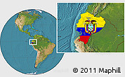 Flag Location Map of Ecuador, satellite outside