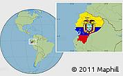 Flag Location Map of Ecuador, savanna style outside