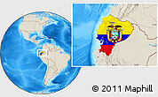 Flag Location Map of Ecuador, shaded relief outside
