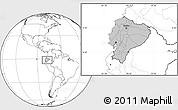 Gray Location Map of Ecuador, blank outside