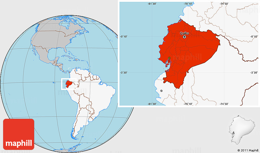 Gray Location Map Of Ecuador Highlighted Continent - Map of ecuador world