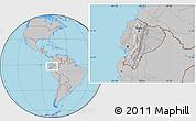 Gray Location Map of Ecuador, hill shading inside