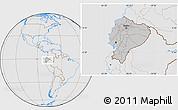 Gray Location Map of Ecuador, lighten, desaturated