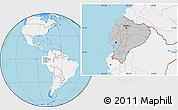 Gray Location Map of Ecuador, lighten, land only