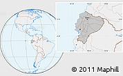 Gray Location Map of Ecuador, lighten