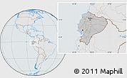 Gray Location Map of Ecuador, lighten, semi-desaturated