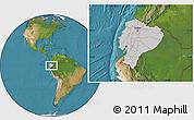 Gray Location Map of Ecuador, satellite outside