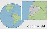 Gray Location Map of Ecuador, savanna style outside