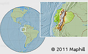 Physical Location Map of Ecuador, savanna style outside, hill shading