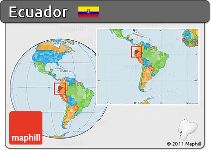 Free Political Location Map of Ecuador within the entire continent