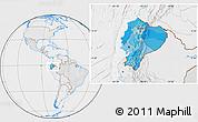 Political Location Map of Ecuador, lighten, desaturated