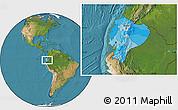 Political Location Map of Ecuador, satellite outside