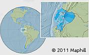 Political Location Map of Ecuador, savanna style outside, hill shading