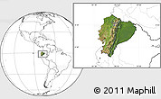 Satellite Location Map of Ecuador, blank outside