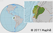 Satellite Location Map of Ecuador, gray outside, hill shading