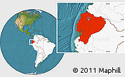 Satellite Location Map of Ecuador, highlighted continent