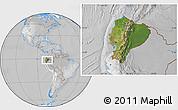 Satellite Location Map of Ecuador, lighten, desaturated