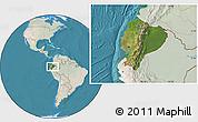 Satellite Location Map of Ecuador, lighten, land only
