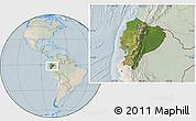 Satellite Location Map of Ecuador, lighten