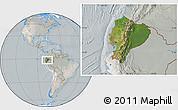 Satellite Location Map of Ecuador, lighten, semi-desaturated