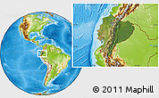Satellite Location Map of Ecuador, physical outside