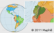 Satellite Location Map of Ecuador, political outside