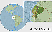 Satellite Location Map of Ecuador, savanna style outside, hill shading