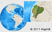 Satellite Location Map of Ecuador, shaded relief outside