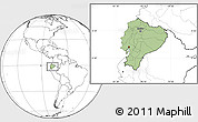 Savanna Style Location Map of Ecuador, blank outside