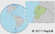 Savanna Style Location Map of Ecuador, gray outside