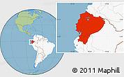 Savanna Style Location Map of Ecuador, highlighted continent