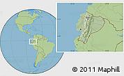 Savanna Style Location Map of Ecuador, hill shading inside
