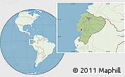 Savanna Style Location Map of Ecuador, lighten, land only