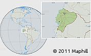 Savanna Style Location Map of Ecuador, lighten, semi-desaturated