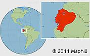 Savanna Style Location Map of Ecuador